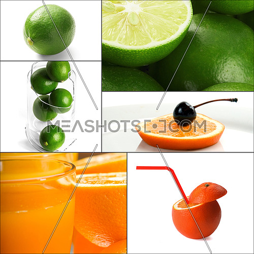 fresh citrus fruits collage composition nested on a square frame