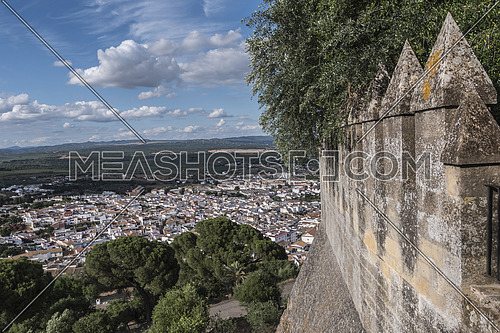 """Almodovar del Rio, Cordoba, Spain - June 9, 2018: View from the castle town of Almodovar del Rio, a Stage of the American producer HBO, for the series """"Game of Thrones"""". placed close to the Guadalquivir, take in Almodovar of the Rio, Cordoba province, Andalusia, Spain"""