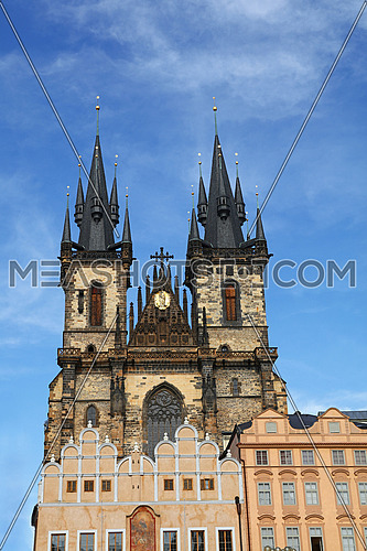 Low angle view of Cathedral of Our Lady before Tyn over clear blue sky, Prague, Czech Republic