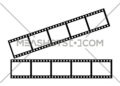 Close up two stripes of five empty frames of classical 35 mm film strip isolated on white background