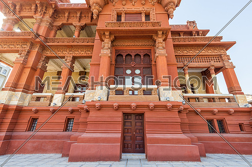 Low angle view of rear facade of Baron Empain Palace, a historic mansion inspired by the Cambodian Hindu temple of Angkor Wat, located in Heliopolis district, Cairo, Egypt