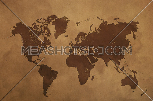 Brown world map on old vintage darkened grunge kraft paper parchment with stains