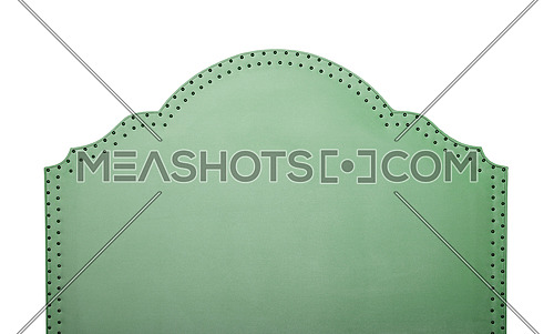 Pastel green color soft velvet fabric shaped bed headboard isolated on white background, front view