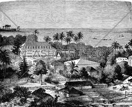 Tahiti. Government Palace. Barracks of marines. House of the former king, vintage engraved illustration. Journal des Voyages, Travel Journal, (1880-81).