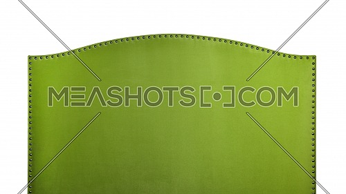 Bright green soft velvet fabric shaped bed headboard isolated on white background, front view