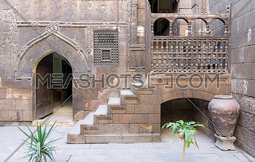 Courtyard of Gayer Anderson House, a 17th century house situated adjacent to the Mosque of Ahmad ibn Tulun in the Sayyida Zeinab neighborhood, Cairo, Egypt