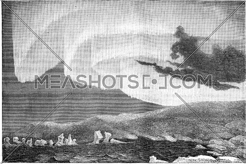 Appearance of the aurora borealis in the north-east, Bossekop (Finnmark), vintage engraved illustration. Le Tour du Monde, Travel Journal, (1865).