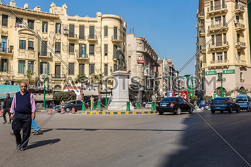 Long Shot for Traffic at Talat Harb Square at Cairo at Day