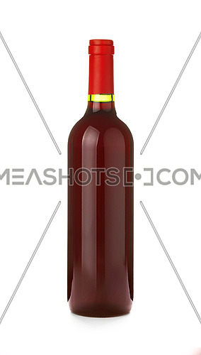 Close up one full unopen glass bottle of red wine without label isolated on white background, low angle side view