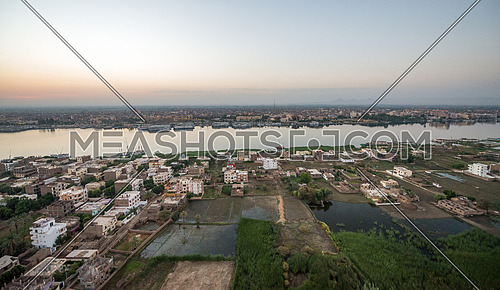 Ariel Top shot for Luxor City from a Hot Air Balloon by sun rise