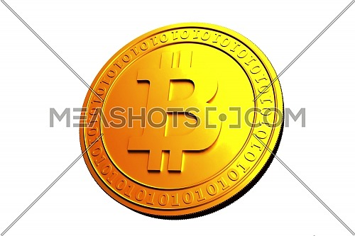 Bitcoin. Physical bit coin. Digital currency. Cryptocurrency. Golden coin with bitcoin symbol isolated on White background. Stock vector illustration.