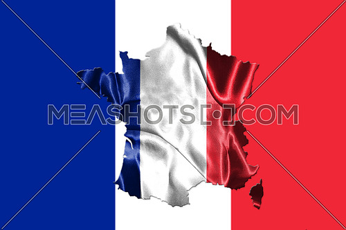 National Flag Of France Waving in the Wind With French Map On It 3D illustration
