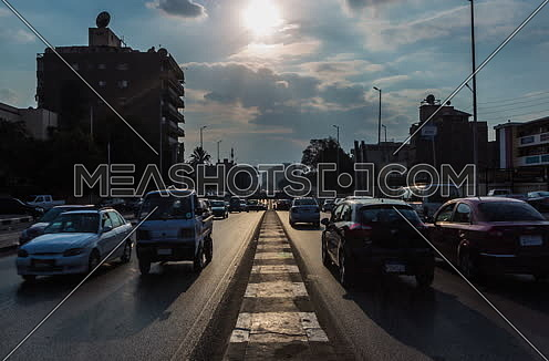 Fixed Shot for traffic at Salah Salim Street showing Al Orouba Tunnel in background at Daytime