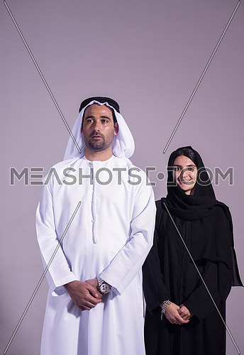 portrait of young arab middle eastern business couple isolated on white background