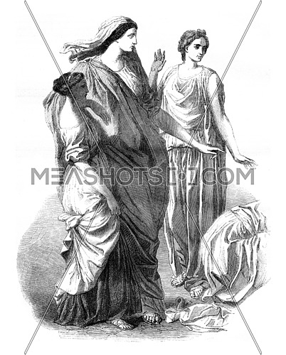 The main group Moise saves water, vintage engraved illustration. Magasin Pittoresque 1846.