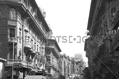 Black and white of Old Architecture in Main Street In Downtown Cairo Egypt