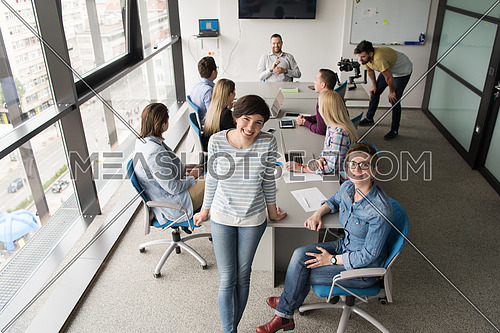 Portrait Of Successful Businesswomen Entrepreneur At Busy startup Office