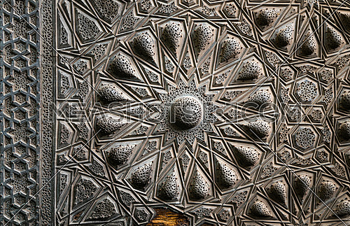 Goemetrical brass decorations of an ancient historic door of an ancient mosque,ΠCairo, Egypt
