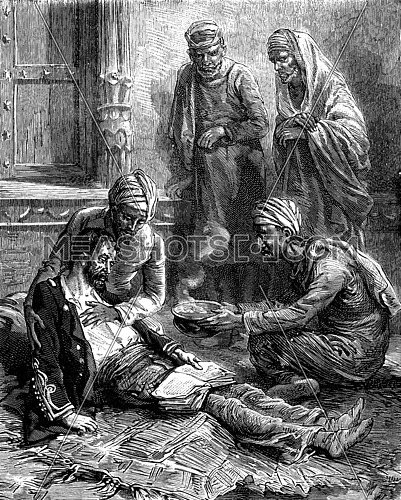 Fever Hood. Far from his native country, he breathed his last, vintage engraved illustration. Journal des Voyage, Travel Journal, (1879-80).