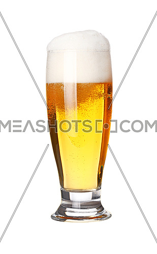Close up one full high glass of lager beer with froth and bubbles isolated on white background, low angle side view