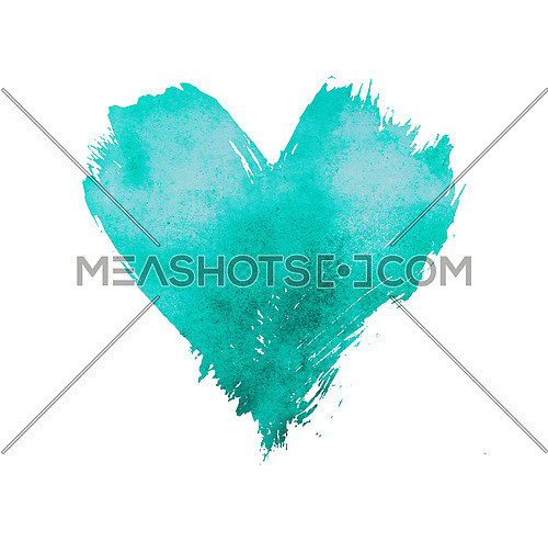 Teal blue pastel watercolor painted heart with brushstroke grunge shape and paintbrush texture isolated on white background