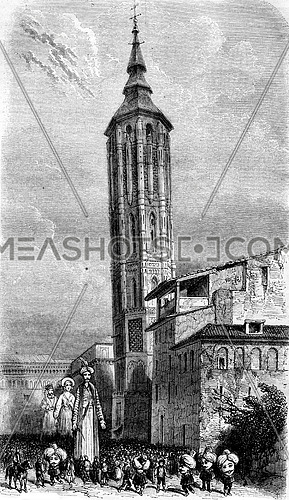 Leaning Tower of Zaragoza, vintage engraved illustration. Magasin Pittoresque 1852.