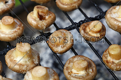 White champignon common mushrooms cooked on char grill, close up, high angle view