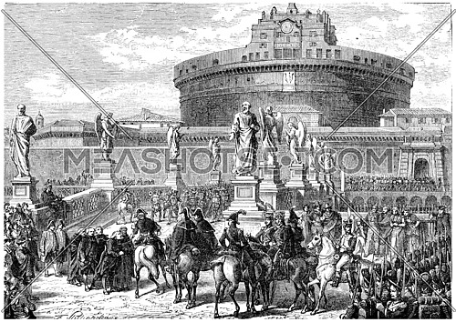 Occupation of Rome by the French army, vintage engraving.