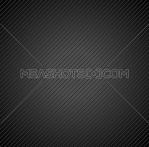 Vector illustration square background pattern of diagonal lines carved engraved in black metal surface with gradient