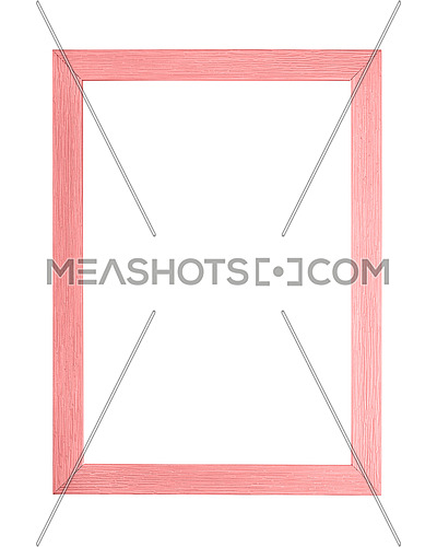 Modern pastel color pink painted rectangular vertical frame for picture or photo, isolated on white background