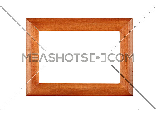 Simple minimalistic horizontal wooden brown classic frame for picture or photo, isolated on white background, close up