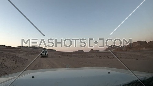 Front shot for Safari car driving in Wadi Agarat, Sinai at day