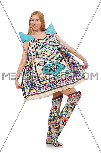 Woman in blue dress with oriental prints isolated on white