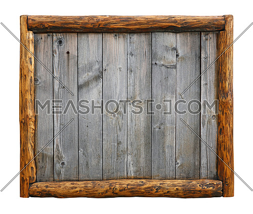 Old vintage wooden grunge gray aged rustic planks bulletin board panel with wood log border frame, copy space in middle, isolated on white