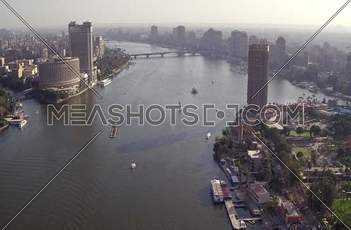 Aerial Shot for the River Nile at Cairo at Day