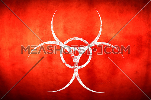 White biohazard warning sign painted over grunge red background with copy space