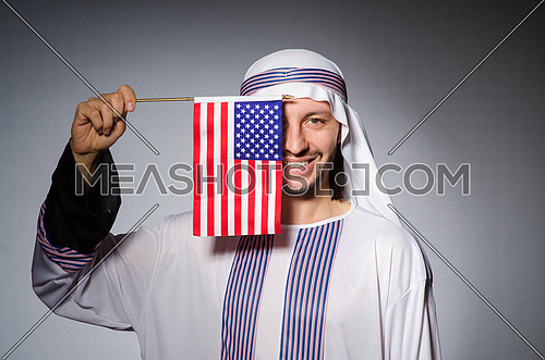 Arab man with united states flag