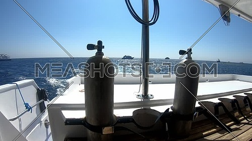 Video for Long shot for Red Sea from yacht showing scuba tools and yachts  at day  | Meashots