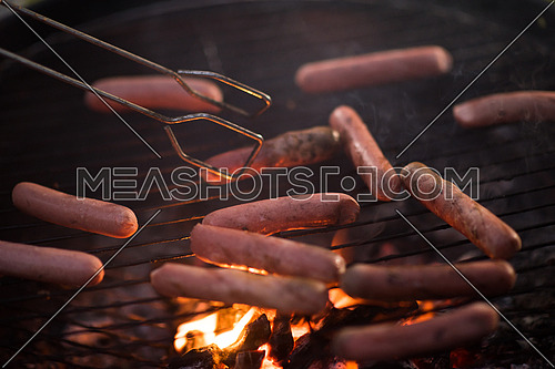 tasty saussages on the grill