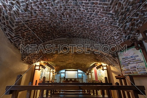 Hall at the basement of the House of Egyptian Architecture historical building with bricks arched ceiling, Cairo, Egypt