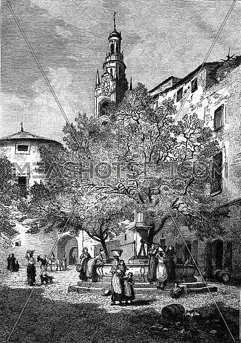 Market Square in San Remo, vintage engraved illustration. Magasin Pittoresque 1877.