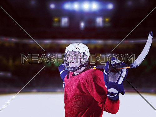 young ice hockey player portrait on a match