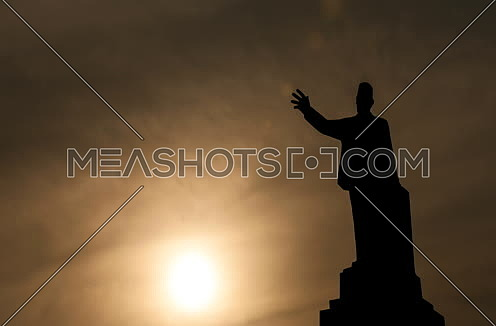 Zoom Out Sillhout Shot for Saad Zaghloul Statue at Cairo from Day to Sunset