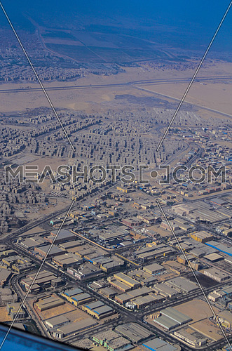A view from an airplane, top view of Cairo, Egypt showing buildings and blocks