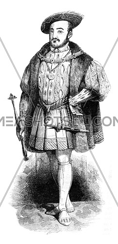 Portrait and costume Henry VIII on his accession to the throne, vintage engraved illustration. Colorful History of England, 1837.