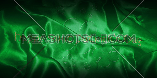 Happy Saint Patrick's Day. Text With Clover Leafs Isolated On Green Irish Background 3D illustration