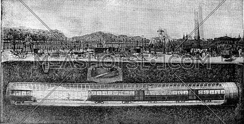 The Metropolitan under the Place de la Concorde, vintage engraved illustration. Industrial encyclopedia E.-O. Lami - 1875.