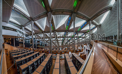 Long shot inside Library of Alexandria.