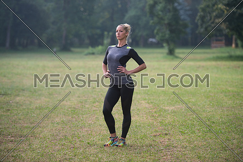 Portrait Of Young Woman Doing Outdoor Activity Running
