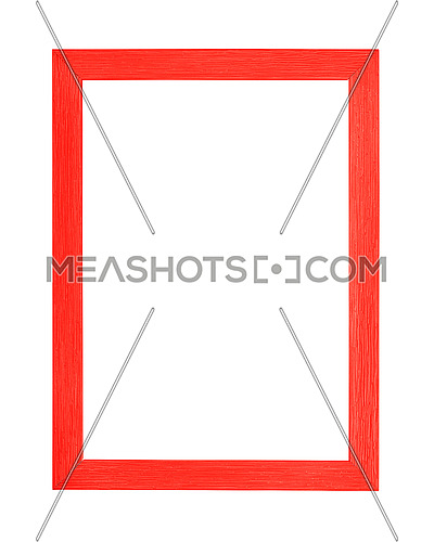 Modern vivid scarlet red color painted rectangular vertical frame for picture or photo, isolated on white background